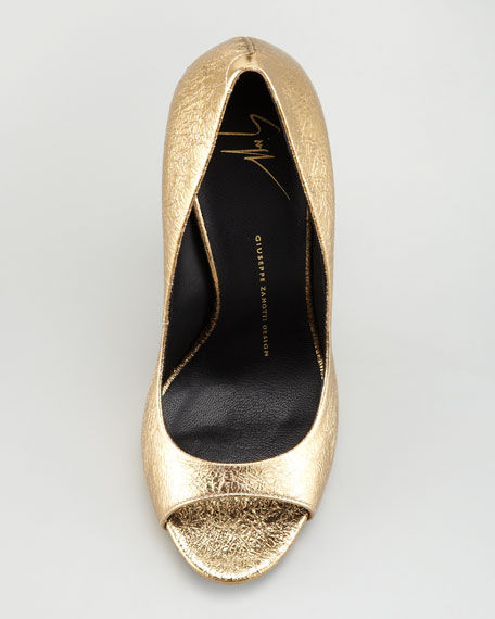 Crackled Metallic Peep-Toe Pump, Gold