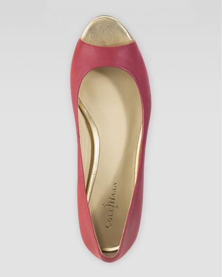Astoria Peep-Toe Ballerina Flat, Cherry Tomato