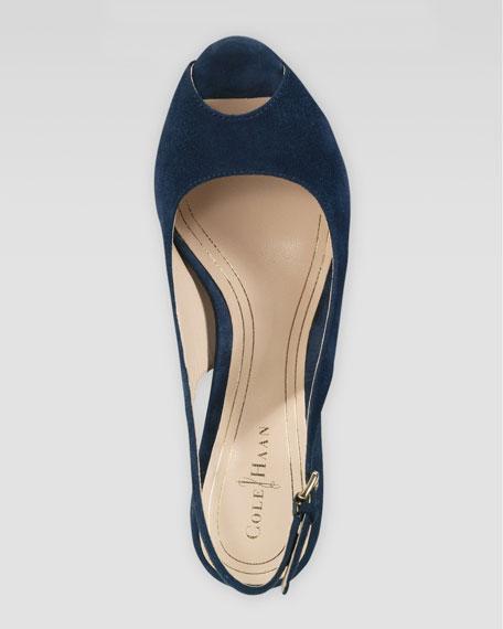 Chelsea Peep-Toe Slingback Pump, Blazer Blue