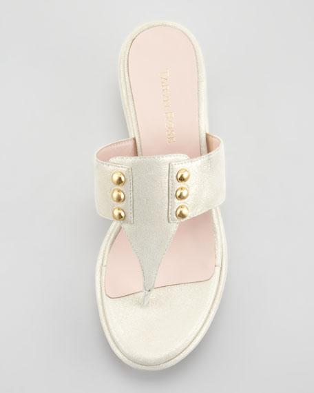 Talisa Studded Mid-Heel Wedge Thong Sandal
