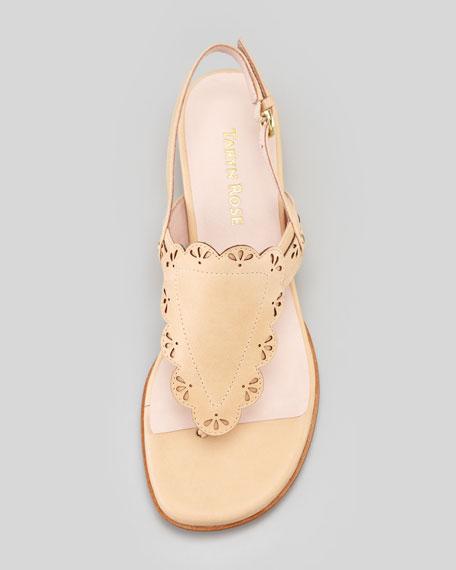 Kingston Eyelet Low-Wedge Thong Sandal, Nude