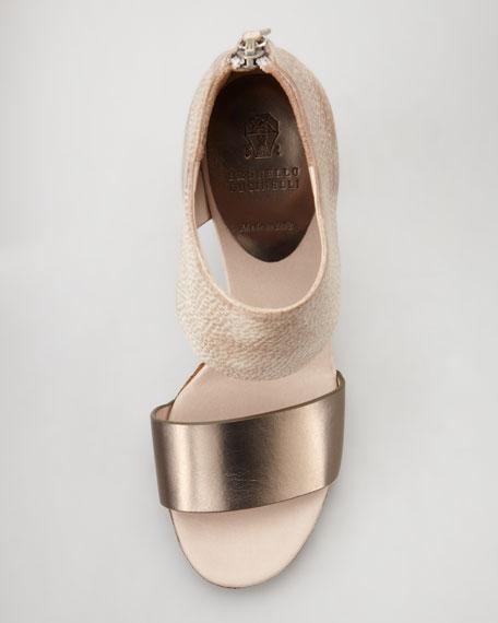 Snake-Embossed Chunky Heel Sandal