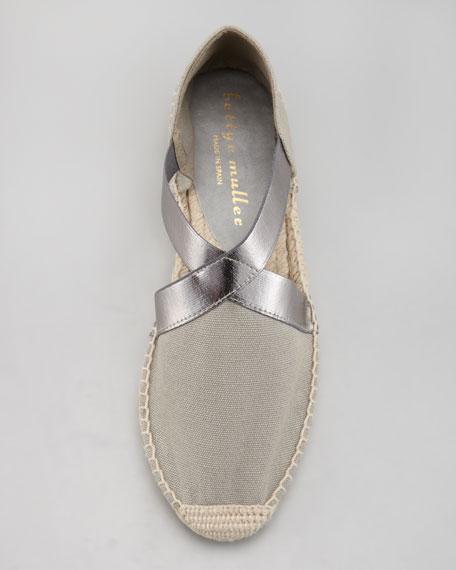 Lasso Stretch Metallic Espadrille, Gray/Silver