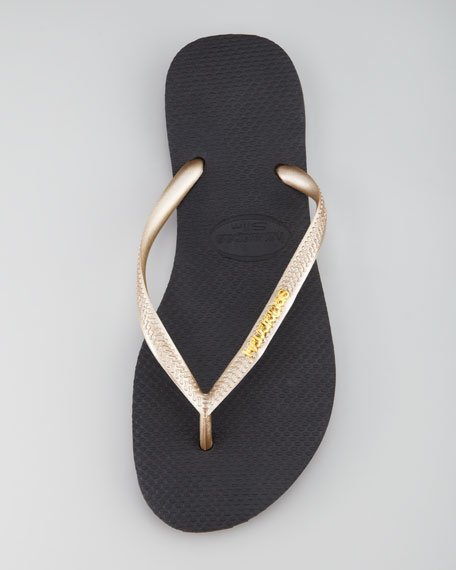 Slim Logo Flip-Flop, Black