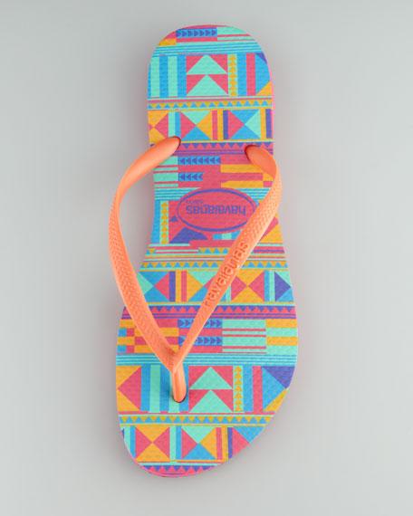 Slim Tribal-Print Flip-Flop, Fuchsia