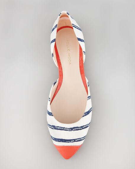 Brice Striped Cap-Toe Flat