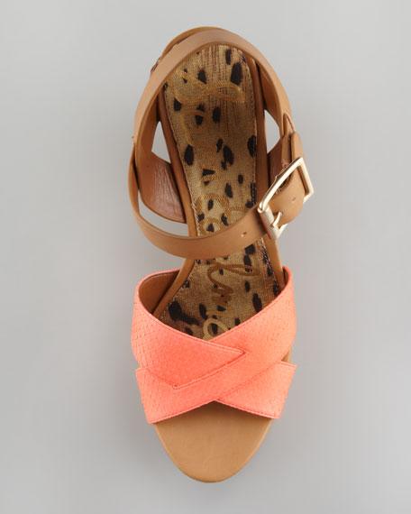 Sasha Snake Leather Wedge Sandal