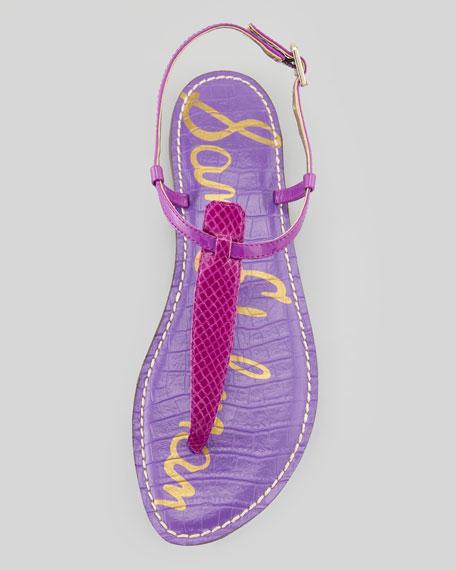 Gigi Snake-Print Leather Sandal, Vivid Violet