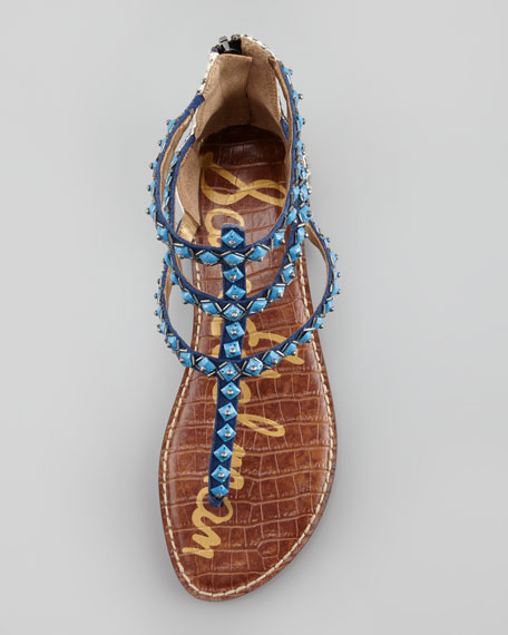 Greyson Zebra-Printed Calf Hair Thong Sandal, Navy