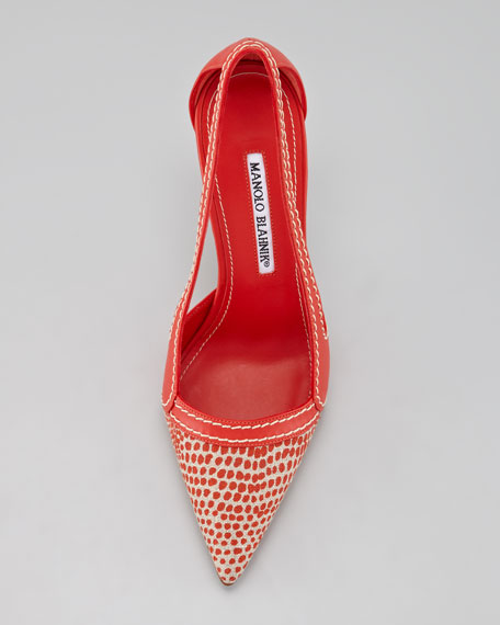 Tifo Spotted Fabric-Toe Pump, Red