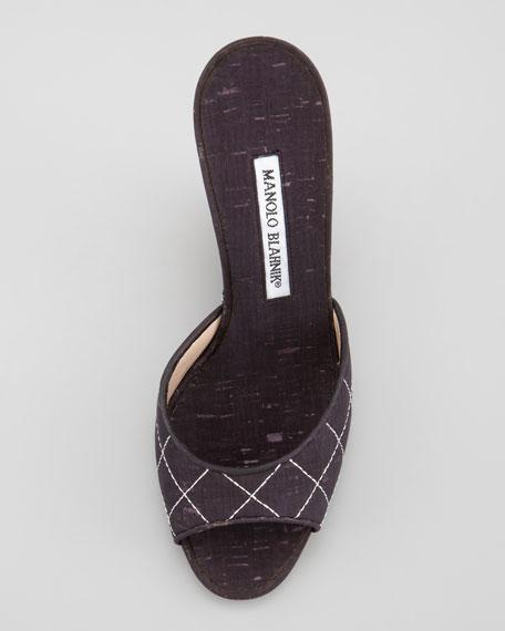 Slide Cork Wedge Sandal, Black