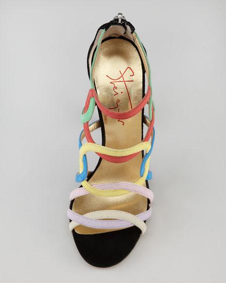 Circle-Strappy Suede Sandal, Multicolor