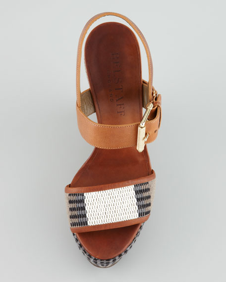 Striped Canvas Wedge Sandal
