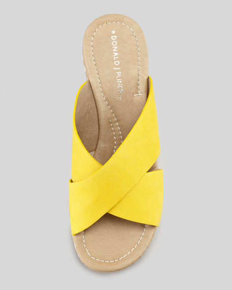 Syna Crisscross Cork Wedge Slide, Sungold