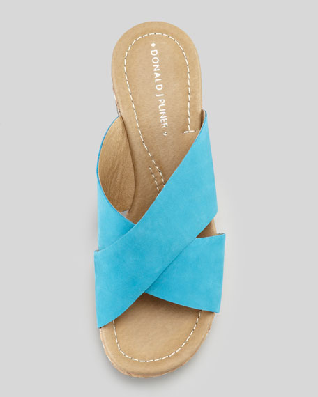Syna Crisscross Cork Wedge Slide, Turquoise