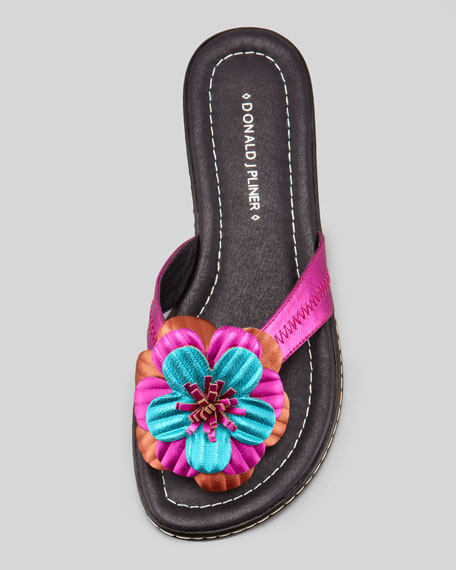 Glow Floral Flat Thong Sandal, Fuchsia/Multi