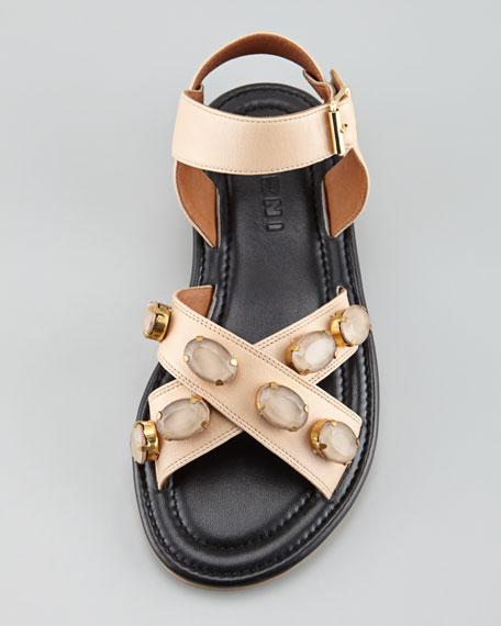 Crisscross Bejeweled Flat Sandal