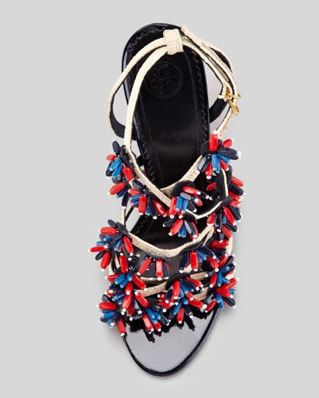Ambrosia Beaded Raffia Runway Sandal