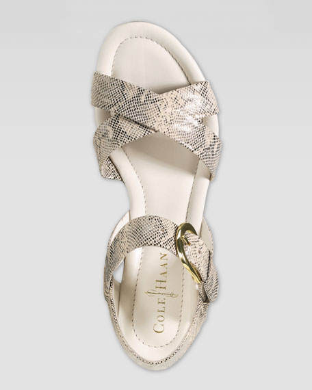 Air Tali Low Wedge Snake-Print Sandal