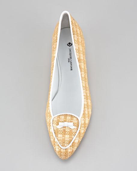 Laura Woven Raffia Belgian Loafer, White/Natural