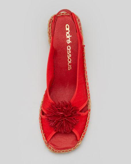 Dion Silk Espadrille Wedge, Red