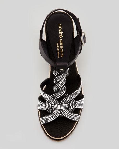 Studded Vachetta Espadrille Wedge Sandal, Black