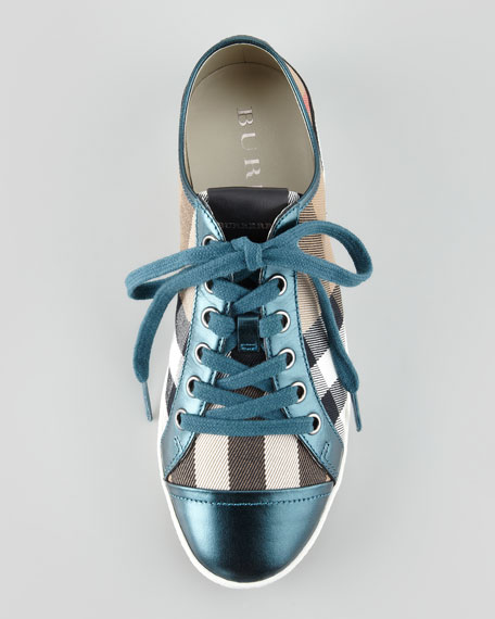 Check Canvas Metallic Low-Top Sneaker, Teal Blue