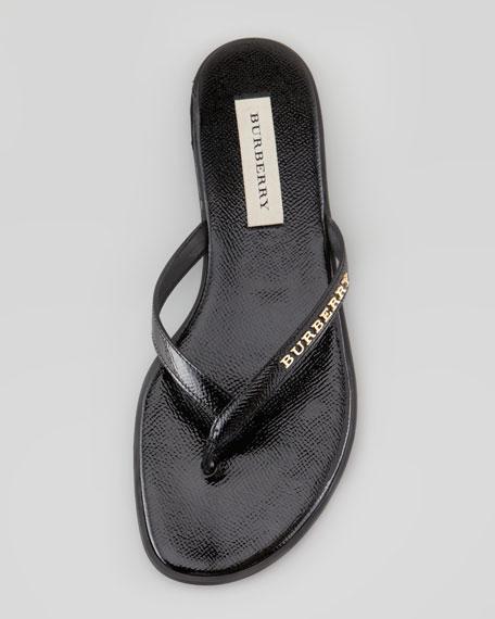 Patent Leather Flip Flop, Black