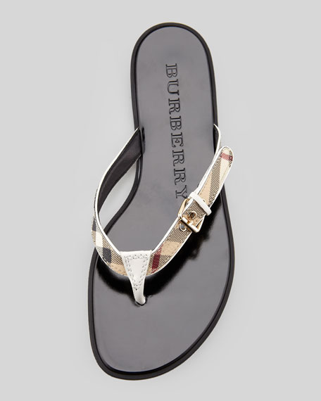 Check Leather Flip-Flop, White