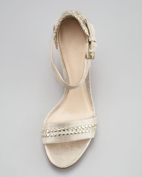 Harper Braided Wedge Sandal, Silver