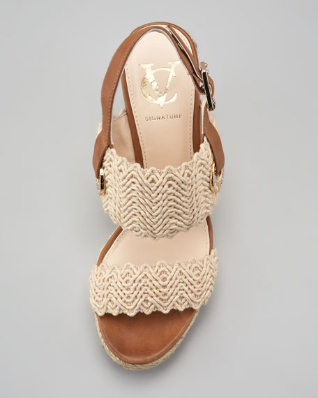 Milo Crochet Slingback Espadrille Wedge Sandal, Peach