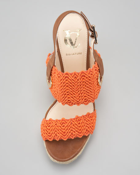 Milo Crochet Slingback Espadrille Wedge Sandal, Orange