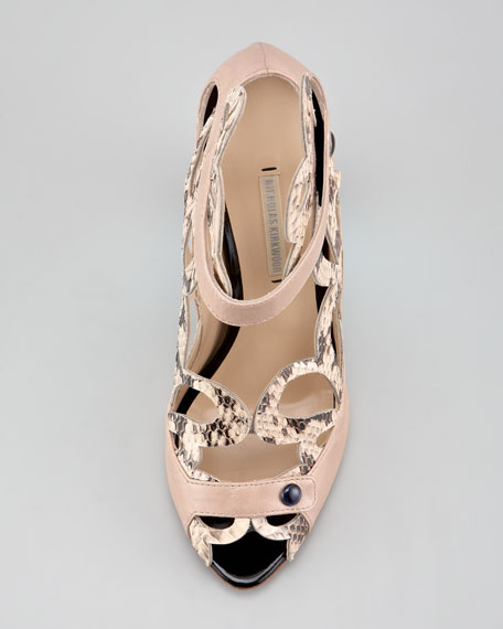 Scalloped Snakeskin Sandal