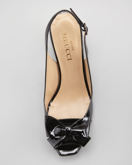 Fran Patent Peep-Toe Slingback with Bow, Black