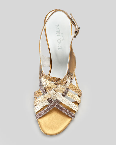 Paula Metallic Woven Slingback Sandal, Bronze Multi