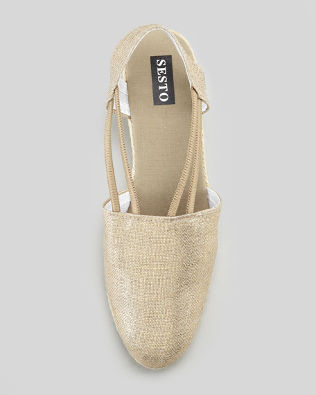 Juan Metallic Canvas Espadrille Wedge, Gold