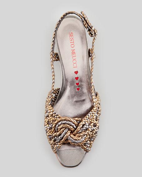 Glam Woven Peep-Toe Posted Slingback Sandal, Bronze/Pewter