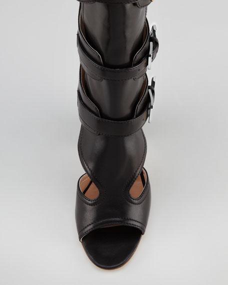 Dolene Multi-Buckle Knee Boot, Black