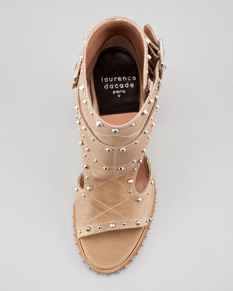 Studded Open-Toe Buckle Boot, Beige/Silver