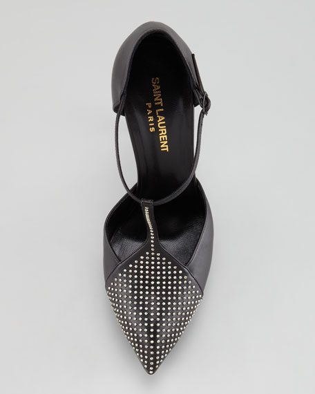 Janis Studded Platform d'Orsay, Black