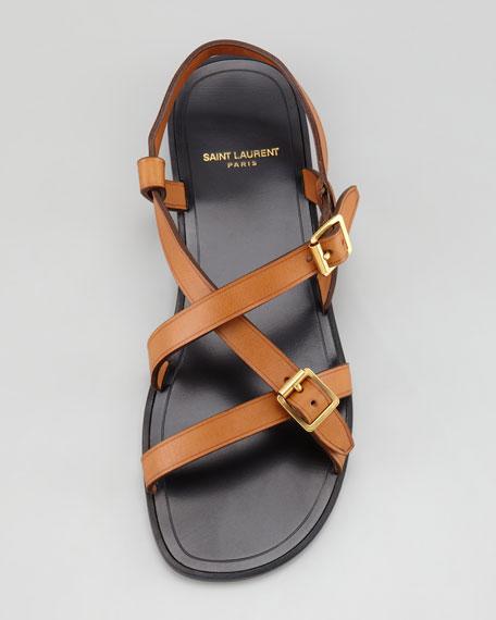 NYU Pieds Flat Strappy Sandal, Cognac