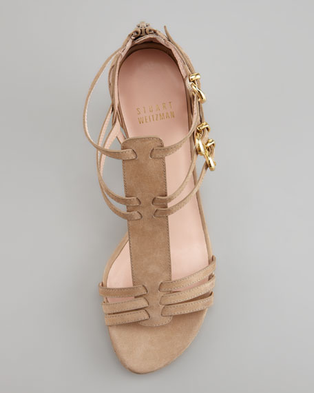 Huarache Nubuck Kitten-Heel Gladiator Sandal, Tan