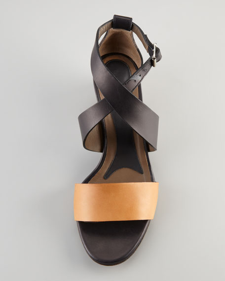 Metal-Heeled Leather Sandal