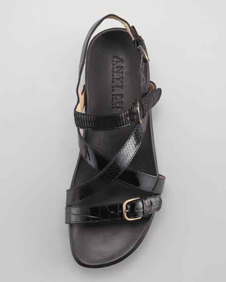 Vera Patent Crisscross Footbed Sandal, Black