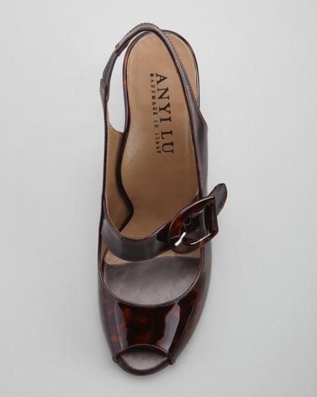 Tulip Patent Peep-Toe Slingback Sandal, Tortoise