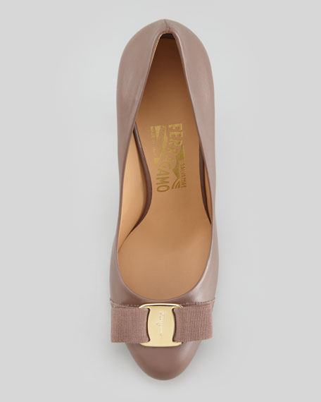 Tina Leather Bow Platform Pump, Taupe