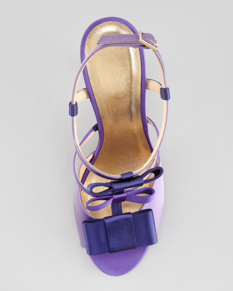 two-tone satin t-strap bow sandal