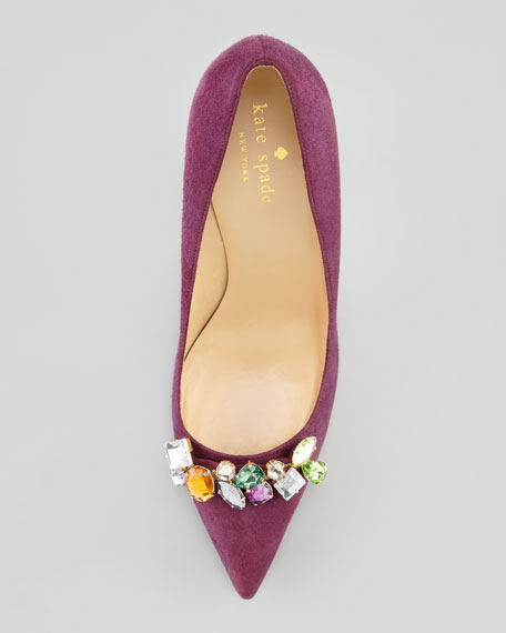 licorice jeweled suede pointed-toe pump, amethyst