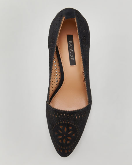 Suede Cutout Pump, Black
