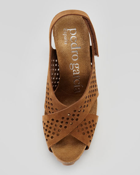 Noor Perforated Crisscross Suede Sandal, Tobacco